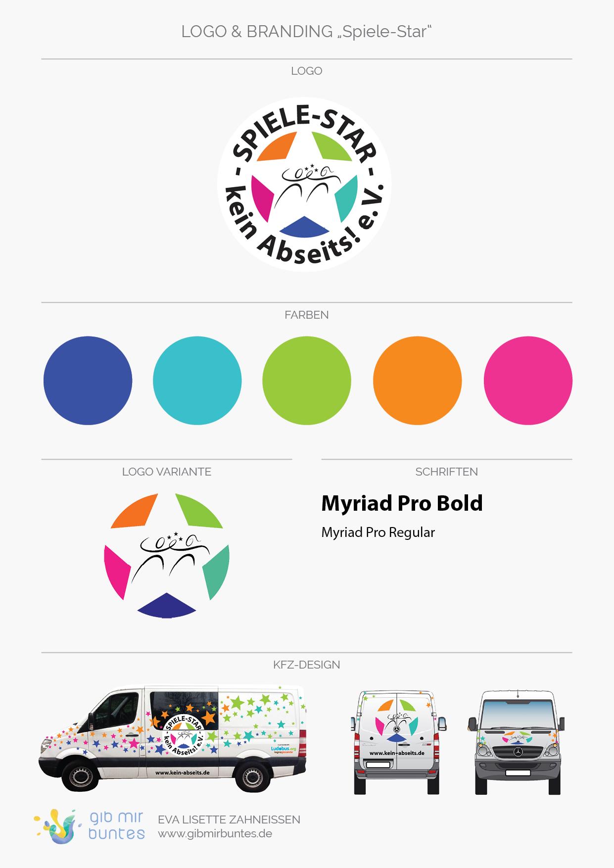 Logo, Logo-Variante, Farben, Schriften, und Foliendesign