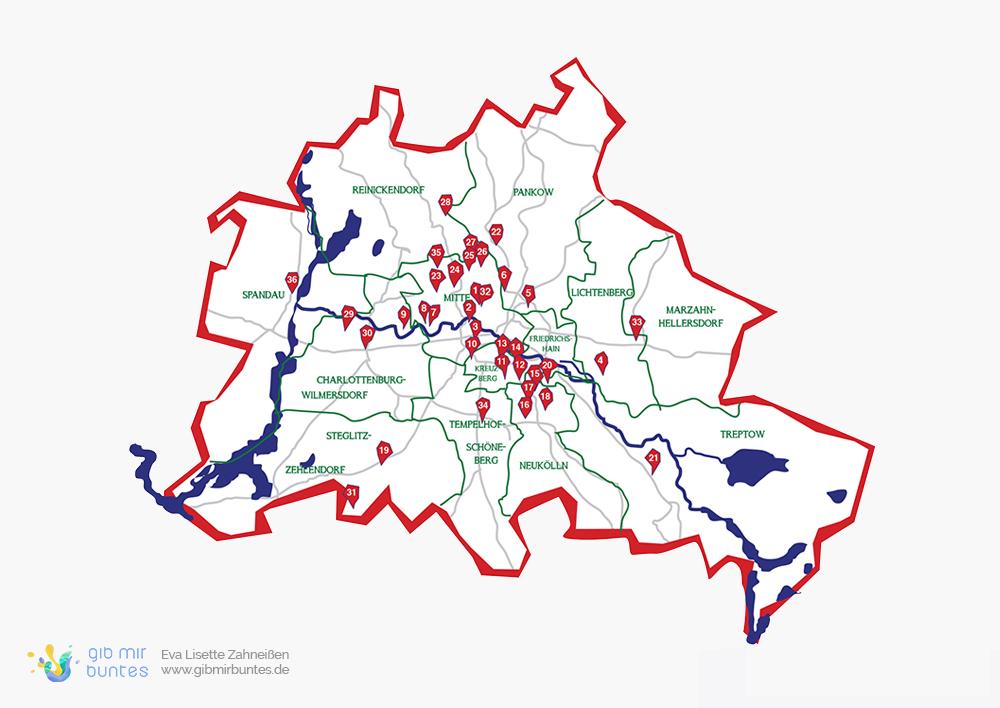 Berlinkarte mit Verortung der Mitglieder