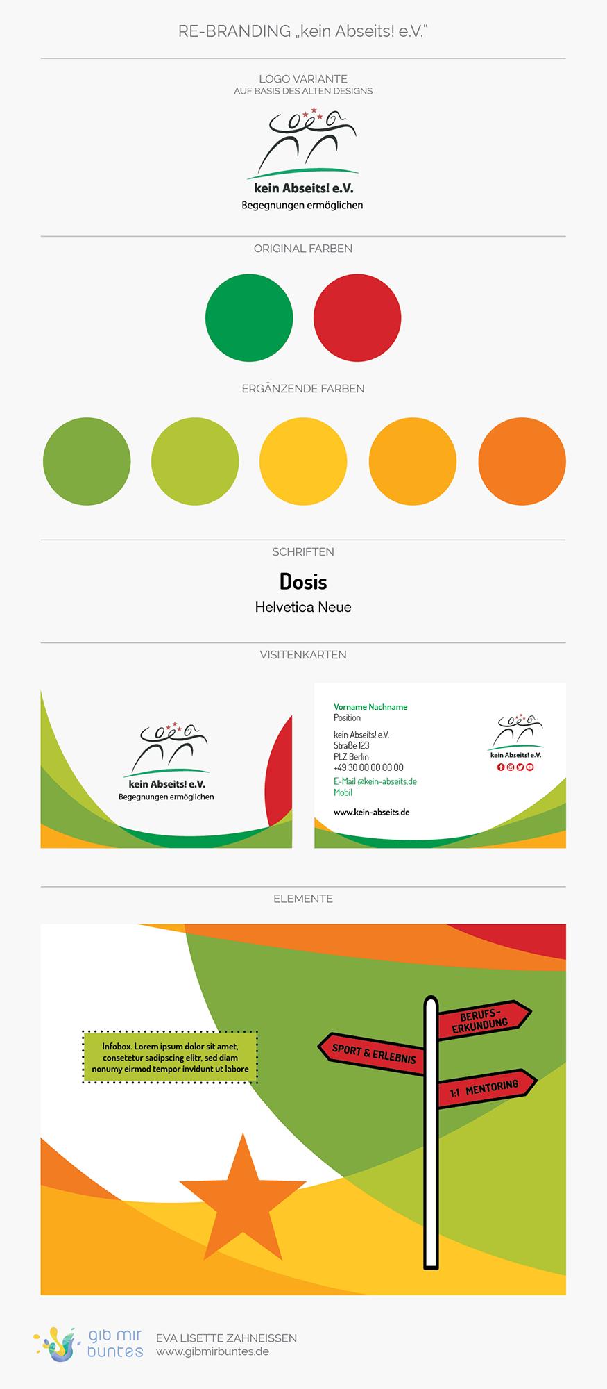 Logo, Farben, Schriften, Visitenkarten und grafische Elemente